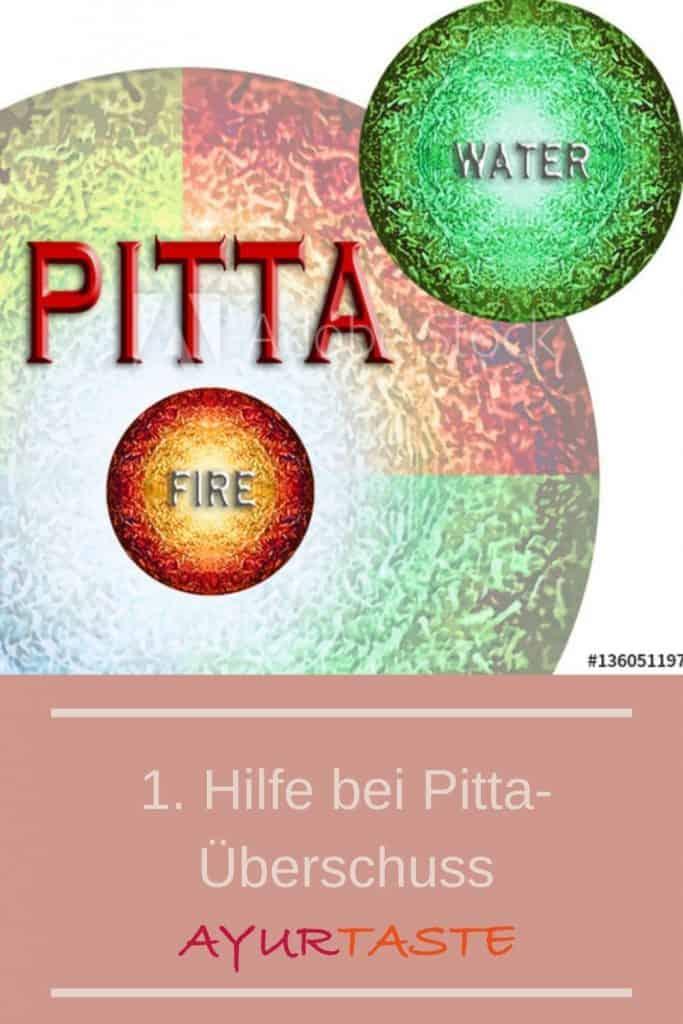 Bunte Kreise mit roten Farben und dem Wort Pitta.