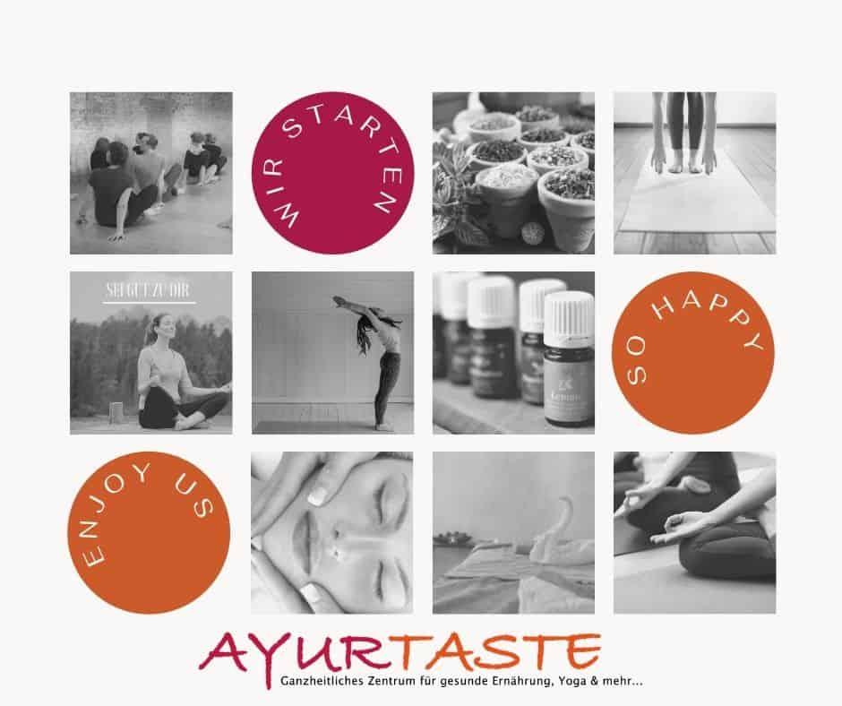 Eine Collage von Fotos aus unserem Gesundheitszentrum. Yoga, Ätherische Öle, Ernährung.